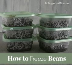 """How to Cook Black Beans in the Crockpot (and how to Freeze them) - Eating on a Dime How to cook beans in the crockpot and then freeze to make your own """"canned"""" beans. It saves you Asparagus On The Stove, How To Cook Asparagus, Freeze Beans, How To Cook Beans, Cooking Black Beans, Canned Black Beans, Black Beans Recipe Crock Pot, Crock Pot Cooking, Freezer Cooking"""