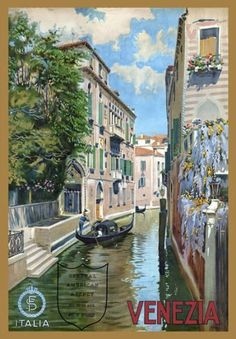 "TR4 Vintage Italian Venice Venezia Italy Travel Poster Re-Print - A4 (297 x 210mm) 11.7"" x 8.3"": Amazon.co.uk: Kitchen & Home"