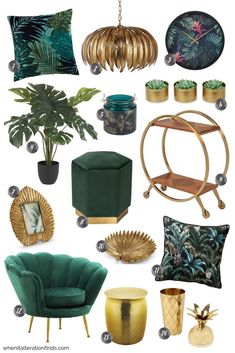 Green and gold living room & Tropical velvet luxury home decor ideas & When It Alteration Finds The post Get the Look: Tropical Velvet Luxe appeared first on Dekoration. Luxury Home Decor, Diy Home Decor, Gold Home Decor, Green Home Decor, Luxury Homes Interior, Decoration Bedroom, Green Decoration, Room Decorations, Peacock Room Decor