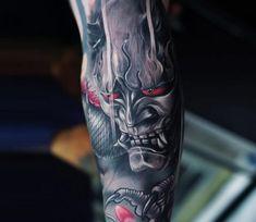 Oni Mask Hand Tattoo — Hand Tattoos & Home Decor Japanese Mask Tattoo, Tattoo Japanese Style, Japanese Tattoo Symbols, Japanese Tattoo Designs, Japanese Sleeve Tattoos, Japanese Hannya Mask, Samurai Maske Tattoo, Samurai Tattoo Sleeve, Forearm Sleeve Tattoos