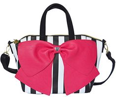 Betsey Johnson Candy Stripe Bow Nanza Satchel Purse Shoulder Bag Handbag * Read more reviews of the product by visiting the link on the image. (This is an Amazon affiliate link)