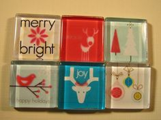 Christmas Decorations Fridge Magnets Set of 6 by DLRjewelry