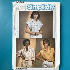 6583ced9a4390 Simplicity 6804 Misses Shirt Blouse Top Tunic Plus Size 16 18 20 Vintage  Sewing Pattern Uncut FF