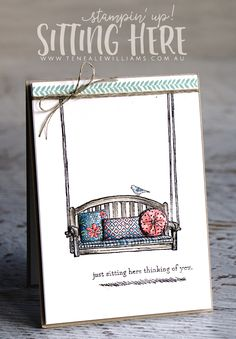 Teneale Williams | Sitting Here stamp set from Stampin' Up! | Watercoloured with a blender pen