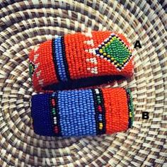 These Zulu beaded bracelets look fabulous in their different color combinations. Open at one end so they easily fit every wrist. Zulu Women, Black Marriage, Beaded Jewelry, Beaded Bracelets, Color Meanings, Six Flags, Beaded Embroidery, Spice Things Up, Color Combinations