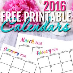 Free Printable 2016 Calendars - Completely editable online!!! Use them for menu planning, homeschooling, blogging, or just to organize your life.