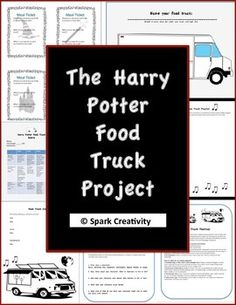 This packet contains everything you need to inspire students with a creative and unusual twist on the usual ELA final project. Using these handouts, students will brainstorm a Harry Potter themed food truck, coming up with its menu, staff, musical playlist and crew.