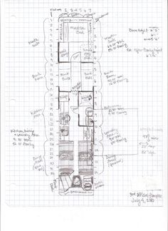 Floor Plans Obviously, this is a step that took place long before the other steps, but I thought I would show you what we are planning on doing with Liahona. All of the floor plans are drawn on… School Bus Tiny House, School Bus House, Old School Bus, Converted School Bus, Floor Plan Layout, House Layout Plans, House Floor Plans, Bus Motorhome, Rv Bus