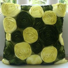 Vintage Olive Lover - Throw Pillow Covers - 16x16 Inches Silk Pillow Cover with Satin Ribbon Embroidery $28.95 US