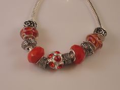 Murano glass beads and Opaque red with Rhinestones Pandora style/ European charm bracelet