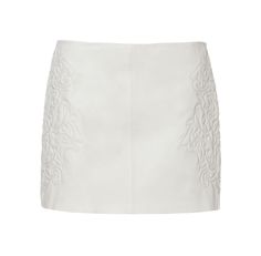 Zara Leather Skirt Embroidered At The Side in White (off white) | Lyst