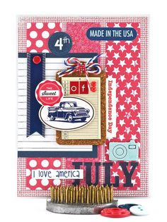 Say Happy Fourth of July and send your happy Independence Day wishes with this classic patriotic card.  Shades of red, white and blue are traditional for 4th of July cards and this one is no exception. It's perfect for conveying your Independence Day greetings in style. #thecardkiosk