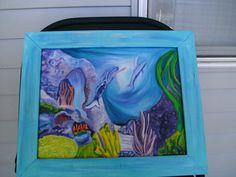 Mermaid's Wave 11by14 original framed artwork by akemanartist, $170.00