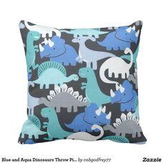 Blue and Aqua Dinosaurs Throw Pillow