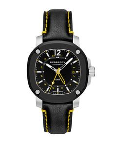 43mm Automatic Watch with Yellow Accents by Burberry at Neiman Marcus.