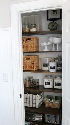 Pantry remodel – Pantry makeover – Farmhouse pantry – Closet kitchen – Small kitchen pantry – – Pantry With Organization Kitchen Small Pantry Closet, Tiny Pantry, Small Kitchen Pantry, Small Pantry Organization, Kitchen Pantry Design, New Kitchen, Kitchen Decor, Pantry Diy, Kitchen Ideas