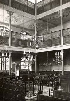 The interior of the synagogue in Bratislava before the war. On the eve of the Holocaust the Jewish community in Bratislava was the largest Jewish community in Slovakia; it was a Jewish religious and political center, and home to the renowned Pressburg Yeshiva as well as the Zionist Organization of Slovakia. In 1930 over 15,000 Jews lived in the city, constituting some 12 percent of the population. Jewish Synagogue, Jewish Art, Bratislava, Old City, Eastern Europe, Old Pictures, Czech Republic, Time Travel, World War Ii