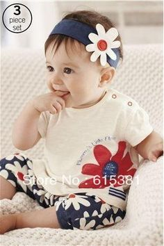 89a43b77f70 2013 New arrival Baby suit Girl s summer clothing sets kids wear   hair  band + flowers