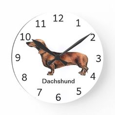 Shop Dachshund Dog Clock created by DogGiftShop. Dachshund Cake, Dachshund Shirt, Dachshund Gifts, Funny Dachshund, Dachshunds, Dog Breed Names, Dog Breeds, Mini Long Haired Dachshund, Clock