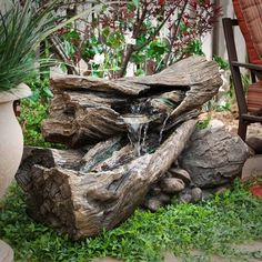 garden ideas Indoor Water Fountains Rock Water Feature Front Yard Fountain Ideas - All For Garden Patio Water Fountain, Backyard Water Fountains, Small Fountains, Garden Fountains, Outdoor Fountains, Fountain Garden, Front Yard Fountains, Tabletop Fountain, Diy Water Feature