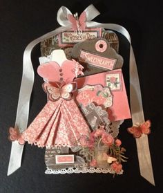 Graphic 45 Time to Flourish Valentine tag card with a dressform and envelope by Anne Rostad