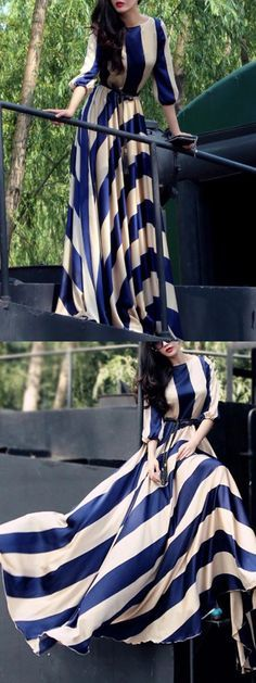 Blue Stripe 3/4 Sleeve Elastic Waist Silky Maxi Dress