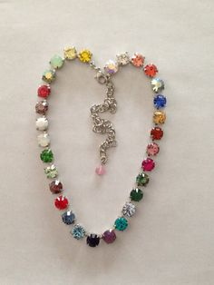 Swarovski crystal necklace red yellow green pink by MISWINGS, $69.00