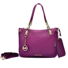 Michael Kors Shoulder Tote with Purple Leather - A052