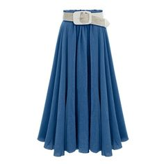 Blue Long Circle Skirt Lookbook Store ($25) ❤ liked on Polyvore featuring skirts, blue skirt, bohemian skirt, blue maxi skirt, long boho skirts and skater skirt