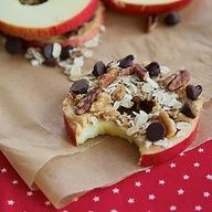 Nutty, tasty treats! Apple, peanut butter and nutty goodness on top yum!