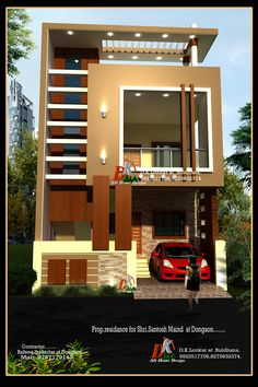 New Modern House Front Elevation Beautiful Wooden Thoons In Place Of the Brown Pillars for A Modern Bungalow Haus Design, Duplex House Design, House Front Design, Small House Design, Modern House Design, Independent House, Front Elevation Designs, House Elevation, New Modern House