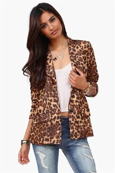 Animalistic Blazer in Brown
