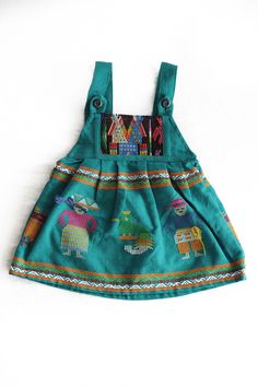 Traditional Baby Dress-Aqua $30 | Handmade and handwoven in Guatemala with traditional fabrics | portion of proceeds go to humanitarian projects