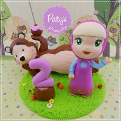 Topo de bolo Masha e o Urso - Festa Infantil - Paty's Biscuit
