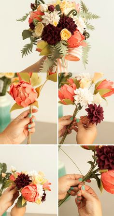 Wonderful Tutorial on how to make and bundle Felt Flowers (via Jen Carreiro / Something Turquoise) - sure flowers are in full bloom in Spring, but if you want to save up on money, this long-lasting felt flowers bouquet is a great to DIY! You can also make smaller bundles for guests to bring home.