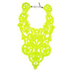 To know more about A+R Store Lace Bib Necklace - Neon, visit Sumally, a social network that gathers together all the wanted things in the world! Featuring over 24 other A+R Store items too! Neon Accessories, Crochet Accessories, Winter Accessories, Yellow Lace, Neon Yellow, Lace Necklace, Crochet Necklace, Neon Jewelry, Jewellery