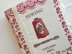 Notebook 6.3 x 4.3 inch A6 with 'vintage sewing' cover by Cornsant, €13.75