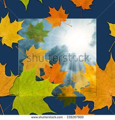 Sunrays breaking through clouds and light up autumnal colored maple leaves; Seamless pattern with autumnal motif - stock photo