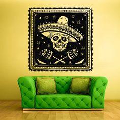 Wall Decal Vinyl Sticker Decals Skull Bones Mexican Hat Horror Old Man Face Pirate Poster Z2102 StickersForLife http://www.amazon.com/dp/B00GE7AQ8Y/ref=cm_sw_r_pi_dp_EBufvb0CJ56B7