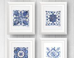 Azulejo Portuguese tile art - Talavera tile - Mexican Tile - Tile Art Print Set of 4 - Blue and white tile art painting - Pattern Tile Art Tile Art, Wall Tiles, Chartreuse Decor, Decoration Bedroom, Portuguese Tiles, Portuguese Culture, Moroccan Tiles, Moroccan Decor, Moroccan Lanterns