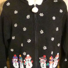 Snowmen with Colorful Hats Ugly Christmas Sweater Hoody