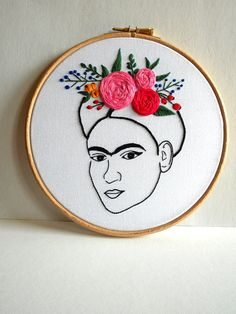 Frida Kahlo Wall Art Modern Embroidery Hoop Art by RedWorkStitches