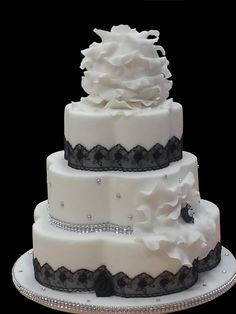 White Wedding Cake With Black And Bling Accents