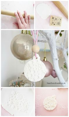 How to make a baking soda and cornstarch clay ornament! Decorated using stamps and cookie cutters.
