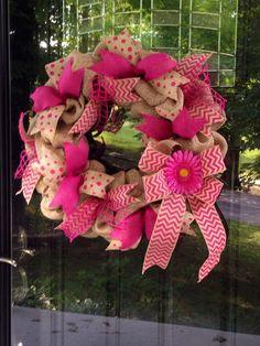 Pink Burlap Wreath with Chevron Ribbon - Summer - Polka Dot