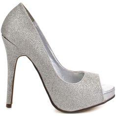Keme - Silver Glitter PU | Silver glitter, Glitter pumps and Peep ...