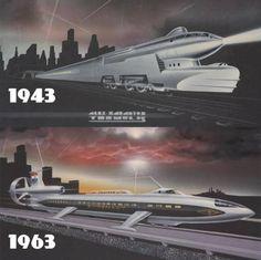 Future Is Now : Photo trains, futuristic, 1943 idea, vs. Retro Futuristic, Futuristic Design, Locomotive, Design Steampunk, Sience Fiction, Arte Nerd, World Of Tomorrow, Days Of Future Past, Train Art