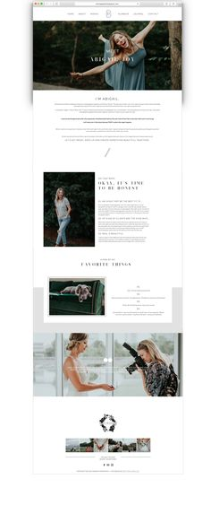 About Page Website Design in Squarespace. Photography About Page ideas. Created by Southern Noble Co.