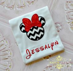 Personalized Minnie Mouse Shirt  Minnie by KateandLuluMonograms, $18.00 Black Chevron with Hot Pink Bow