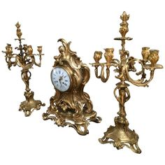 Exceptional Rare Solid Gold Bronze Clock Candelabra Barbedienne Signed, Paris   From a unique collection of antique and modern clocks at https://www.1stdibs.com/furniture/decorative-objects/clocks/